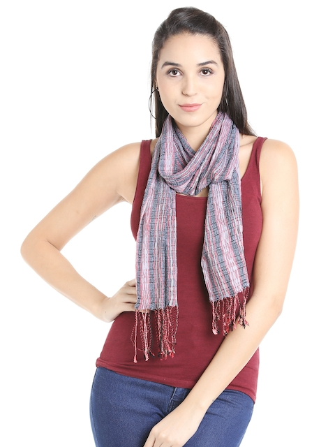 Noi Pink & Charcoal Grey Patterned Scarf