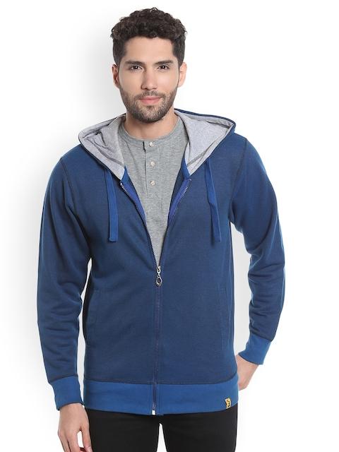 Campus Sutra Men Blue Solid Hooded Sweatshirt