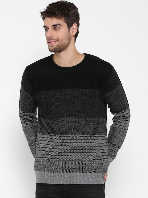 People Men Black & Grey Self-Design Sweater