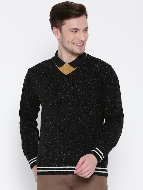 People Men Black Solid Sweater
