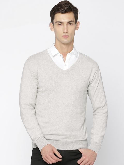 People Men Grey Melange Solid Pullover