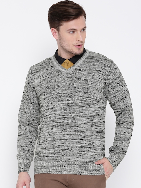 People Men Grey Melange Solid Sweater