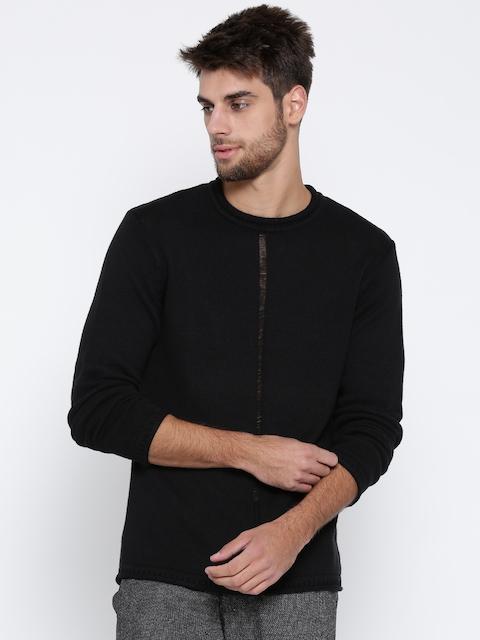 People Men Black Solid Sweater