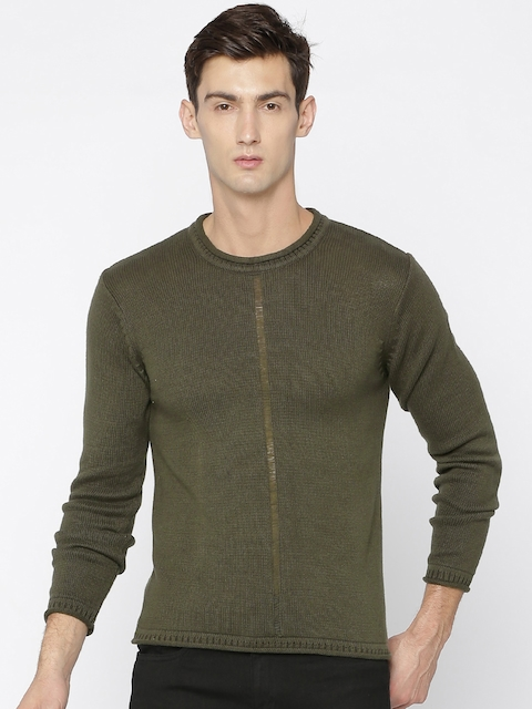 People Men Olive Green Self-Design Pullover