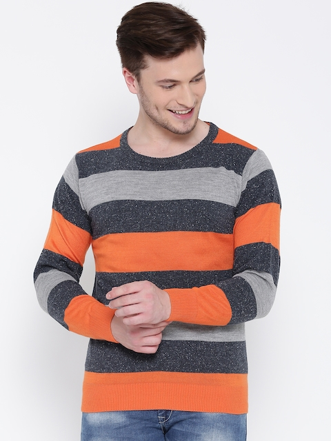 People Men Grey Melange & Orange Striped Sweater