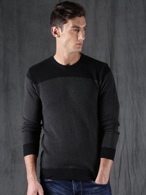 WROGN Men Black & Grey Self-Design Pullover