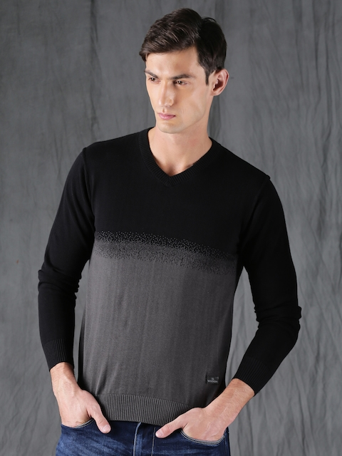 WROGN Men Black & Charcoal Grey Self-Design Pullover