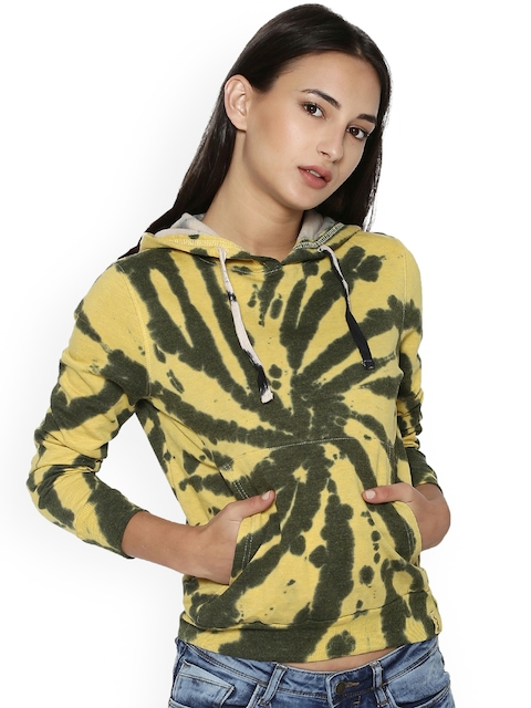 Campus Sutra Women Yellow Printed Hooded Sweatshirt