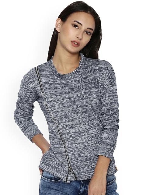Campus Sutra Women Blue Self Design Sweatshirt