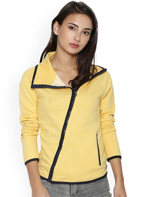 Campus Sutra Women Yellow Solid Tailored Jacket  available at myntra for Rs.879