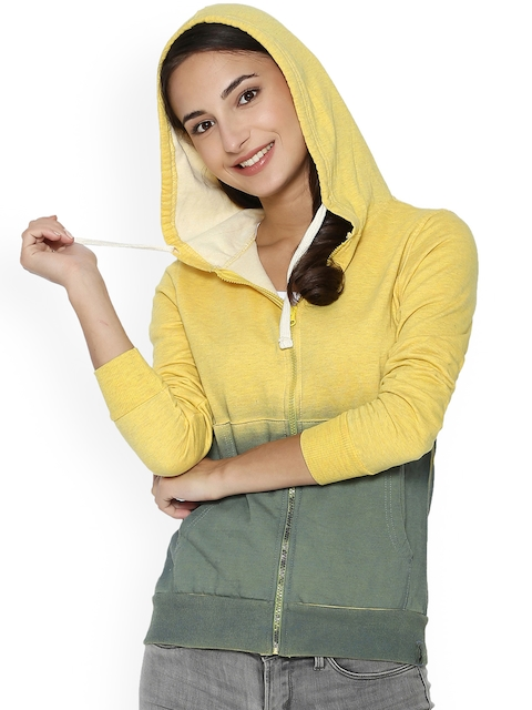 Campus Sutra Women Yellow & Green Colourblocked Quilted Jacket