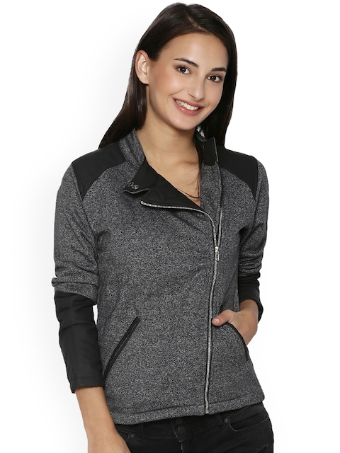 Campus Sutra Women Charcoal Grey Solid Bomber Jacket