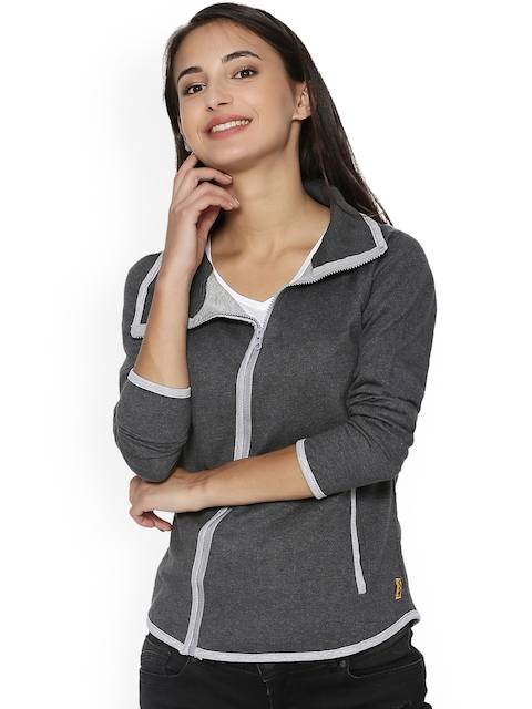 Campus Sutra Women Charcoal Grey Solid Quilted Jacket
