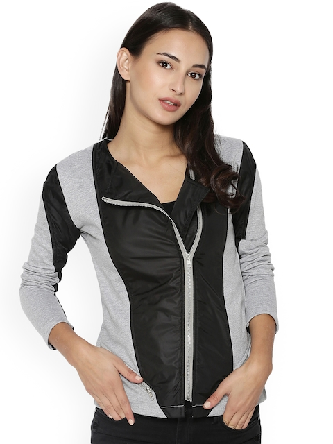 Campus Sutra Women Grey Solid Bomber Jacket
