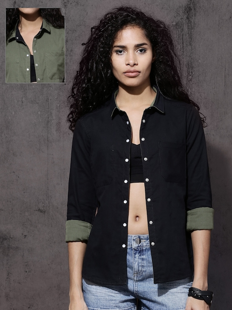 Roadster Women Black & Olive Green Regular Fit Reversible Solid Casual Shirt