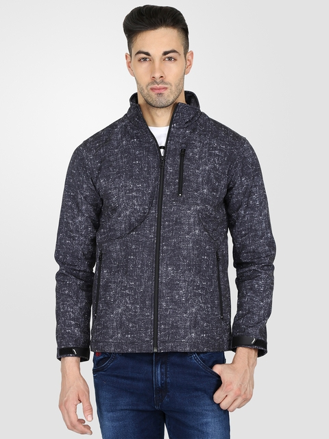 t-base Men Charcoal Grey Printed Tailored Jacket