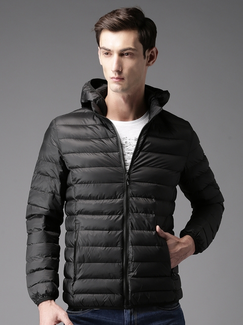 HERE&NOW Men Black Solid Puffer Jacket with Detachable Hood