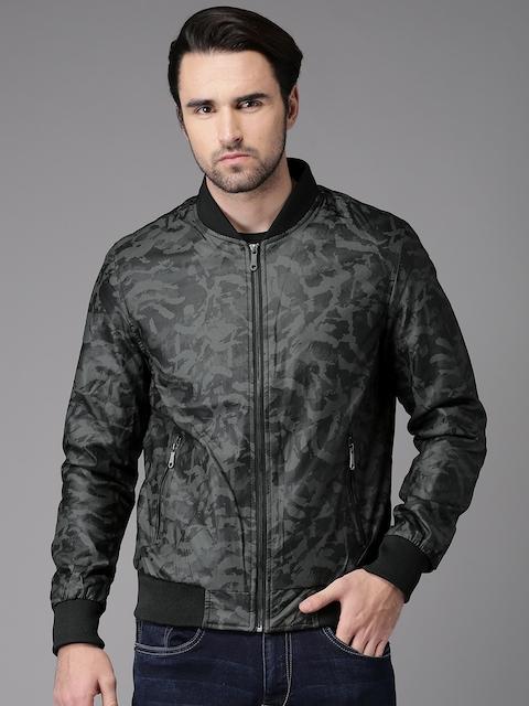 HERE&NOW Men Grey Camouflage Print Bomber Jacket