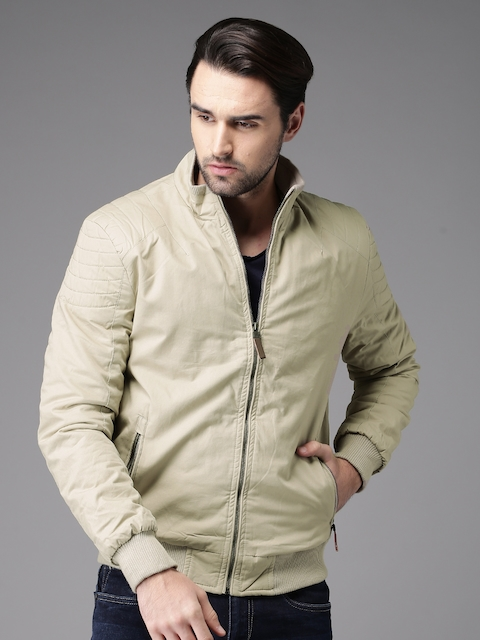 HERE&NOW Men Beige Solid Padded Jacket