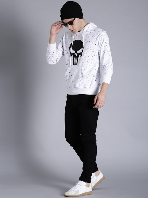 Kook N Keech Marvel Men White & Black Printed Hooded Sweatshirt