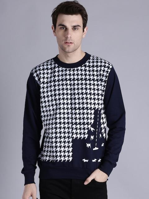 Kook N Keech Men Navy Blue & White Printed Sweatshirt