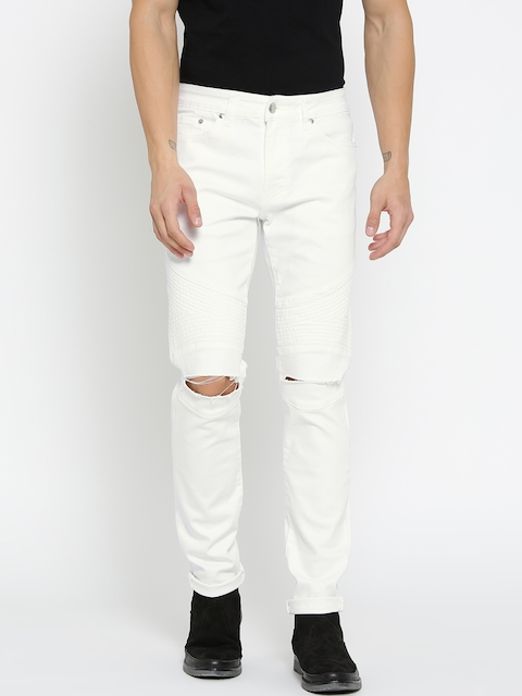 FOREVER 21 Men White Slim Fit Mid-Rise Slash Knee Stretchable Jeans