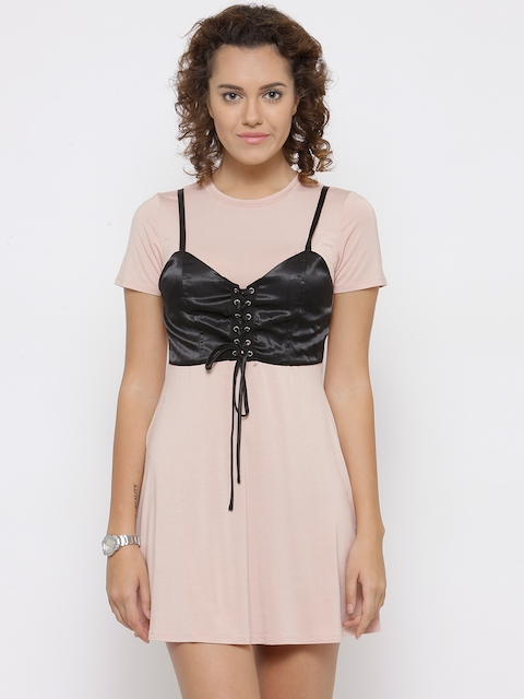 FOREVER 21 Women Dusty Pink A-Line Dress with Bustier