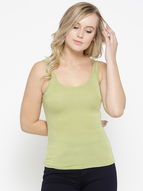 FOREVER 21 Women Green Solid Fitted Tank Top
