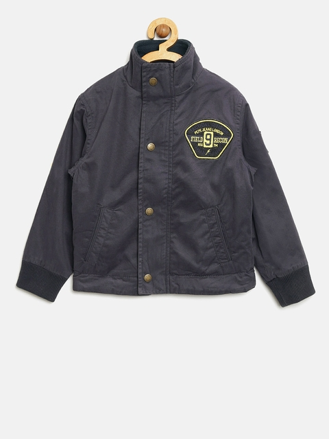 Pepe Jeans Boys Navy Blue Solid Padded Jacket