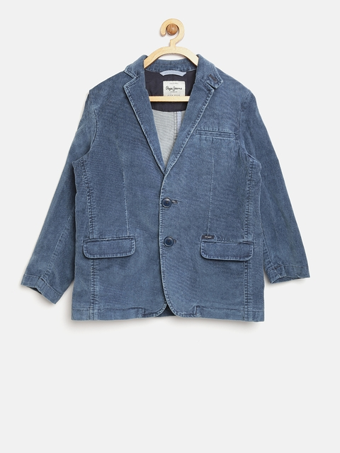 Pepe Jeans Boys Blue Solid Tailored Jacket