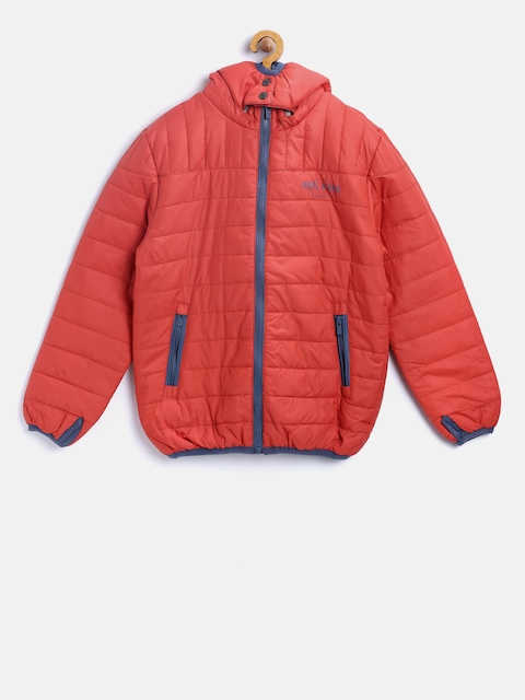 Pepe Jeans Boys Rust Red Solid Padded Jacket with Detachable Hood