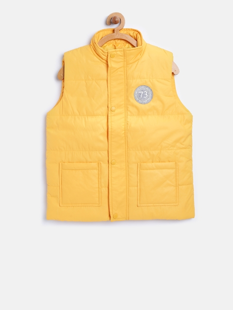 Pepe Jeans Boys Yellow Solid Sleeveless Tailored Jacket