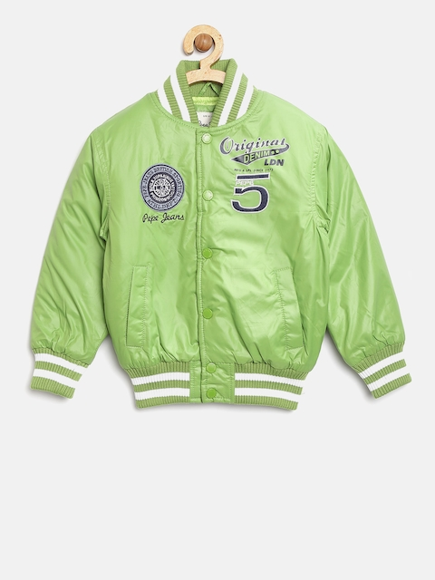 Pepe Jeans Boys Green Solid Bomber Jacket