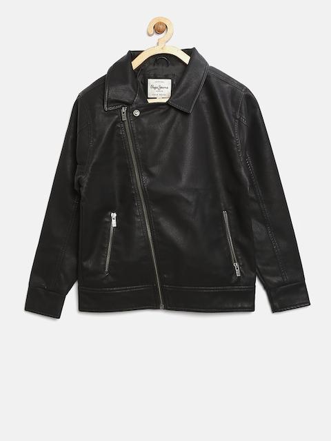 Pepe Jeans Boys Black Solid Biker Jacket