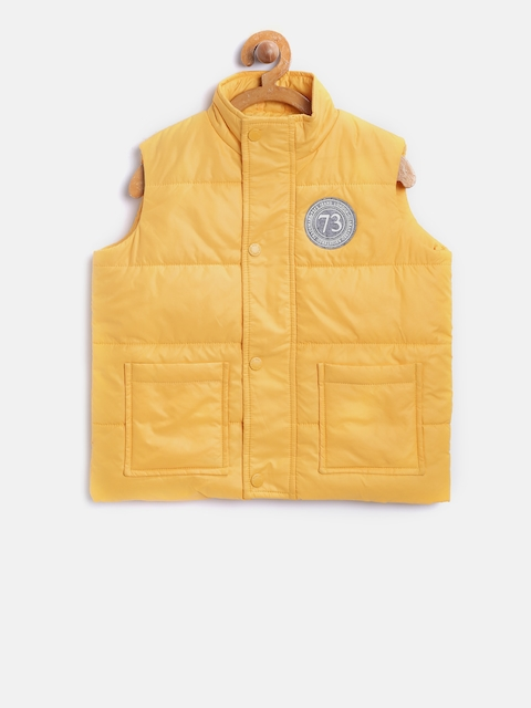 Pepe Jeans Boys Yellow Solid Sleeveless Padded Jacket