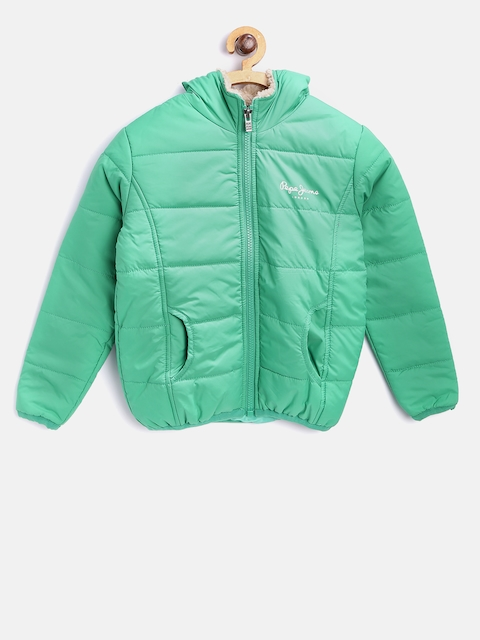 Pepe Jeans Girls Green Solid Hodded Padded Jacket