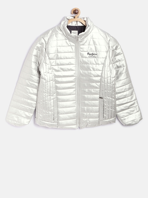 Pepe Jeans Girls Silver-Coloured Solid Padded Jacket