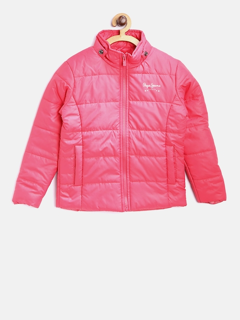 Pepe Jeans Girls Pink Solid Padded Jacket with Detachable Hood