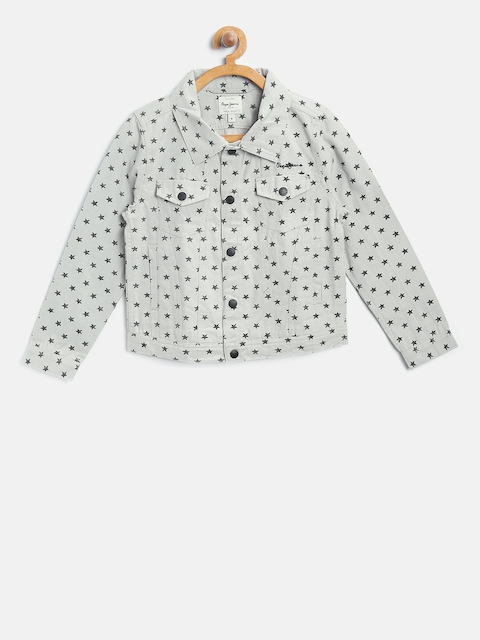 Pepe Jeans Girls Grey Star Print Tailored Jacket