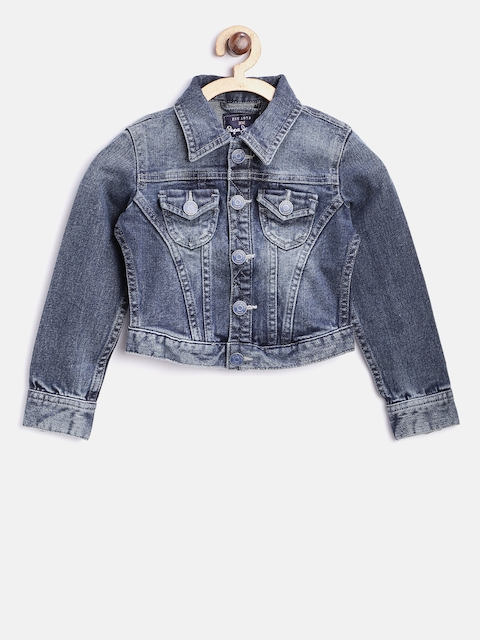 Pepe Jeans Girls Navy Solid Denim Jacket