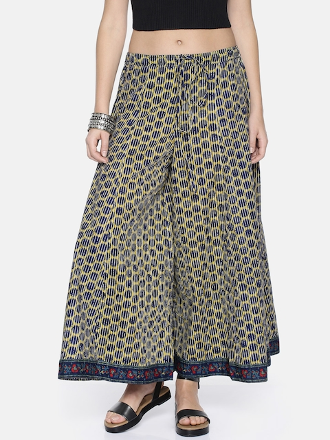 Biba Women Olive Green & Navy Blue Printed Flared Palazzos