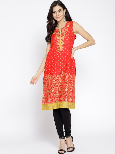 Biba Women Orange & Golden Printed Straight Kurta