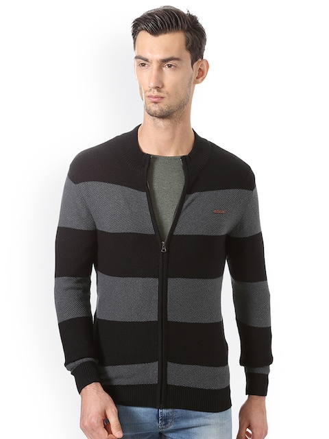 Allen Solly Men Black & Charcoal Striped Cardigan Sweater