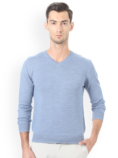 Allen Solly Men Blue Solid Pullover Sweater