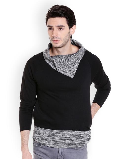 Campus Sutra Men Black Solid Sweatshirt
