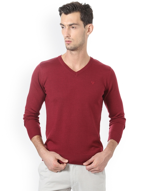 Allen Solly Men Maroon Solid Pullover Sweater