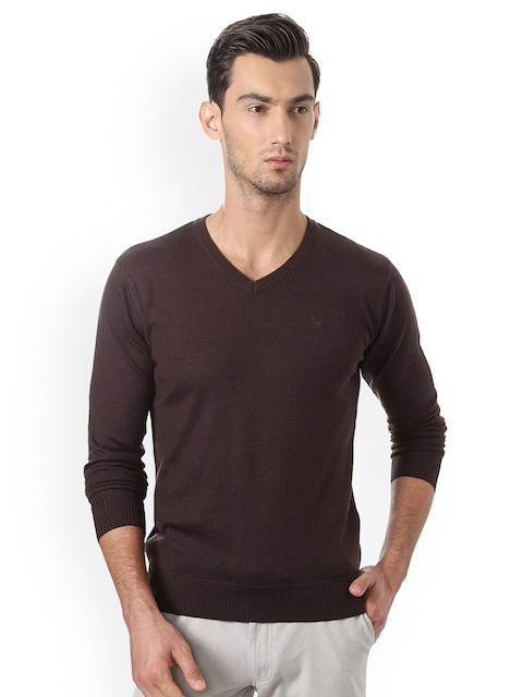 Allen Solly Men Brown Solid Pullover Sweater