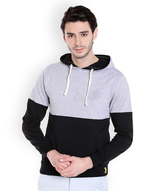 Campus Sutra Men Black & Grey Colourblocked Hooded Sweatshirt