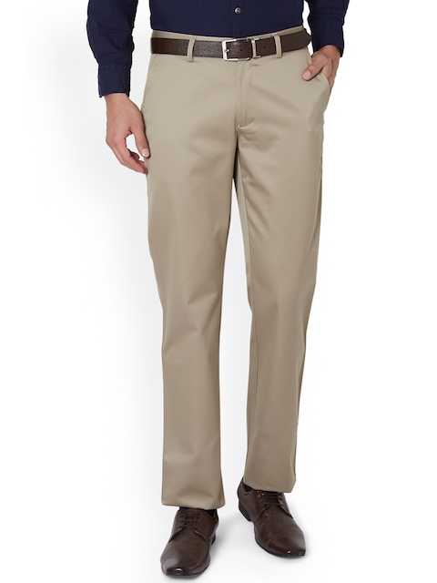 Peter England Men Beige Slim Fit Solid Formal Trousers
