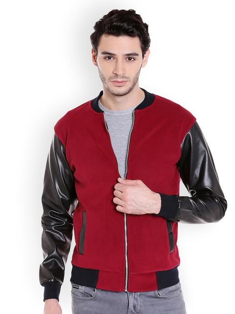 Campus Sutra Men Maroon Solid Bomber Jacket